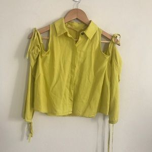 Zara lime green off the shoulder button down top
